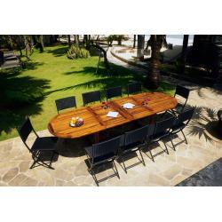 Ensemble en teck Sumatra-Fidji avec table à rallonge 3 mètres