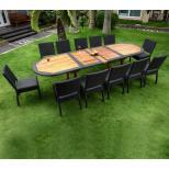 Salon en teck et résine tressée : Table de jardin en teck 300 cm