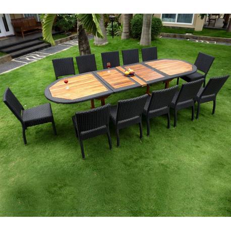 Mobilier de jardin en teck et résine - table de jardin + 8 fauteuils