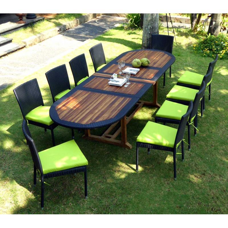 Salon De Jardin Teck Et Resine Tressee Meuble Tables De Jardin En Promotion