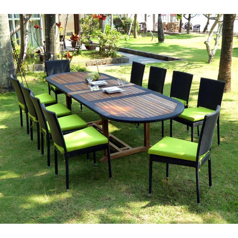 Salon de jardin teck et resine tressee : meuble, tables de jardin en ...