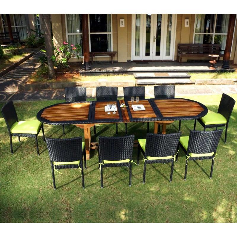 Salon de jardin teck et resine tressee meuble tables de jardin en promotion - Salon de jardin teck et aluminium ...