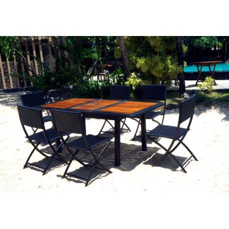 Ensemble table rectangulaire teck résine et 6 chaises pliantes