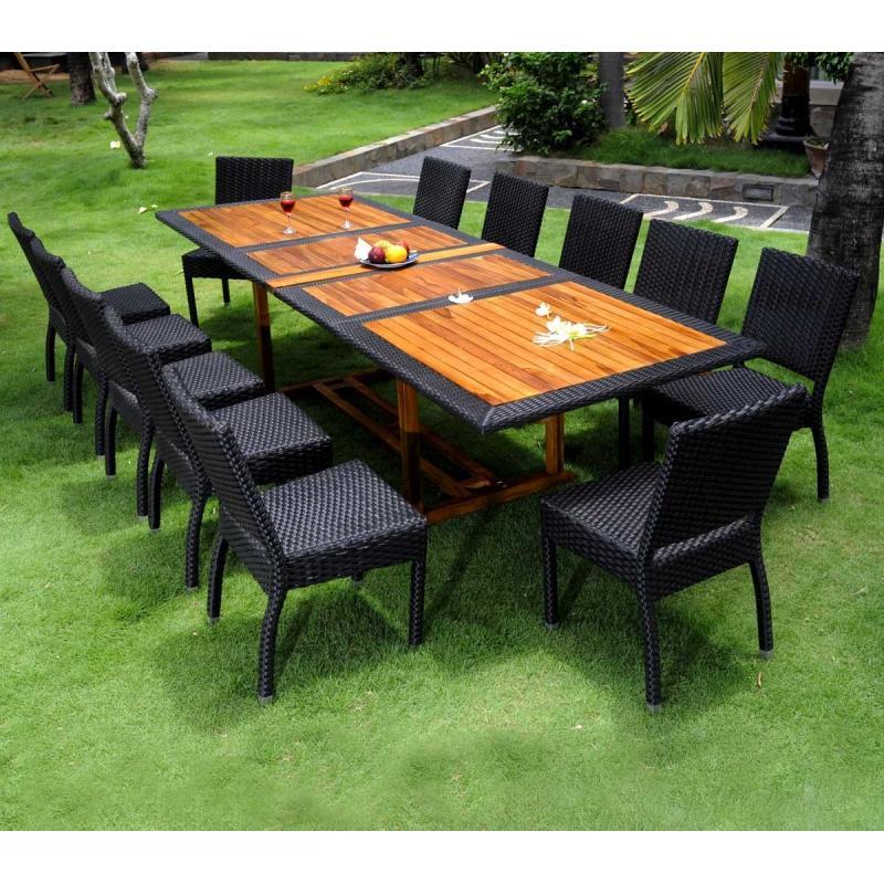 Salon de jardin teck et resine tressee ensemble pour 12 personnes - Ensemble table de jardin ...