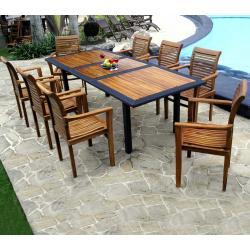 meubles en teck et résine tressée : salon de jardin 8 places
