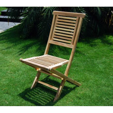 Chaise de jardin en teck brut - Hanton - chaise pliante