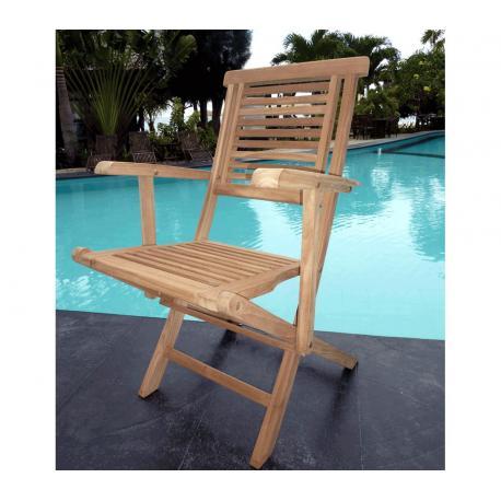 Fauteuil de jardin en teck brut - Hanton - chaise pliante