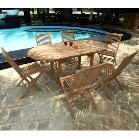 Meuble de jardin ensemble Bali 6 chaises - salon en teck brut