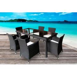 salon de jardin en résine tressée noire x6 fauteuils Sydney