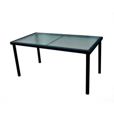 Table de jardin rectangle en résine tressée 140cm