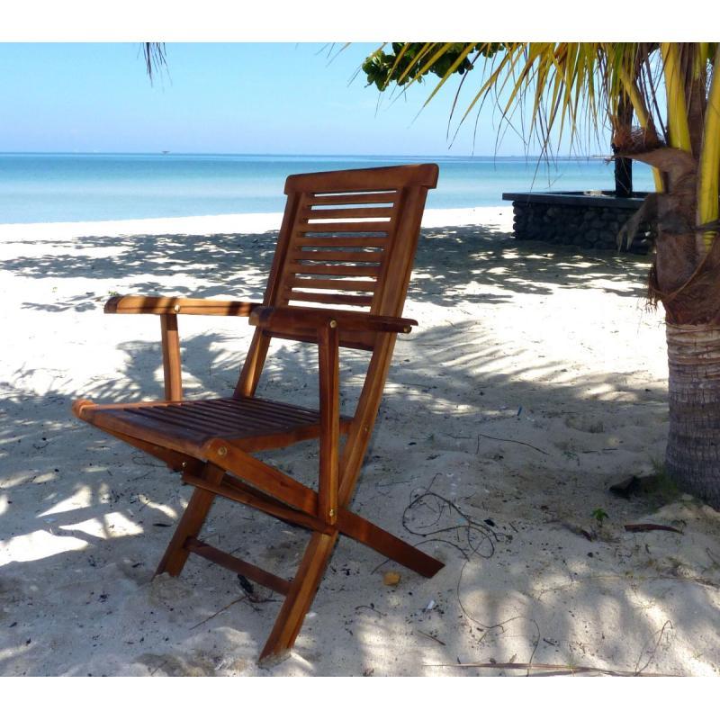 Fauteuil de jardin en teck huil garuda chaise pliante wood en stock for Fauteuil de jardin en teck