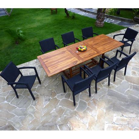 Ensemble de jardin - 10 places - table en teck huilé et 8 fauteuils en résine tressée
