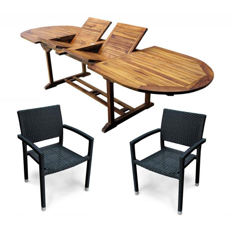 Salon en teck et fauteuils de jardin en résine tressée 10-12 places ...