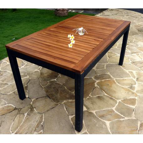 Table en teck et résine - modèle carré 150x90 cm