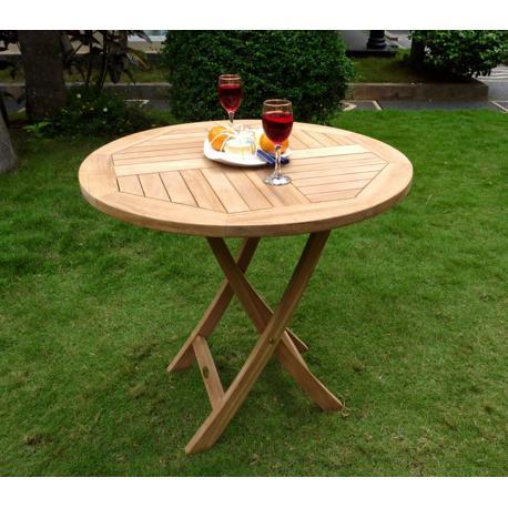 Table de jardin pliante en teck brut - diametre 70 cm
