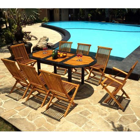 mobilier de jardin teck et résine 8 places Bali Rattan - wood-en-stock