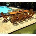 Salon de jardin teck et résine - 12 places - table 200-250-300 cm