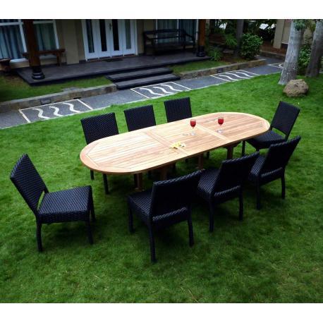 Salon de jardin en teck brut et résine tressée noir
