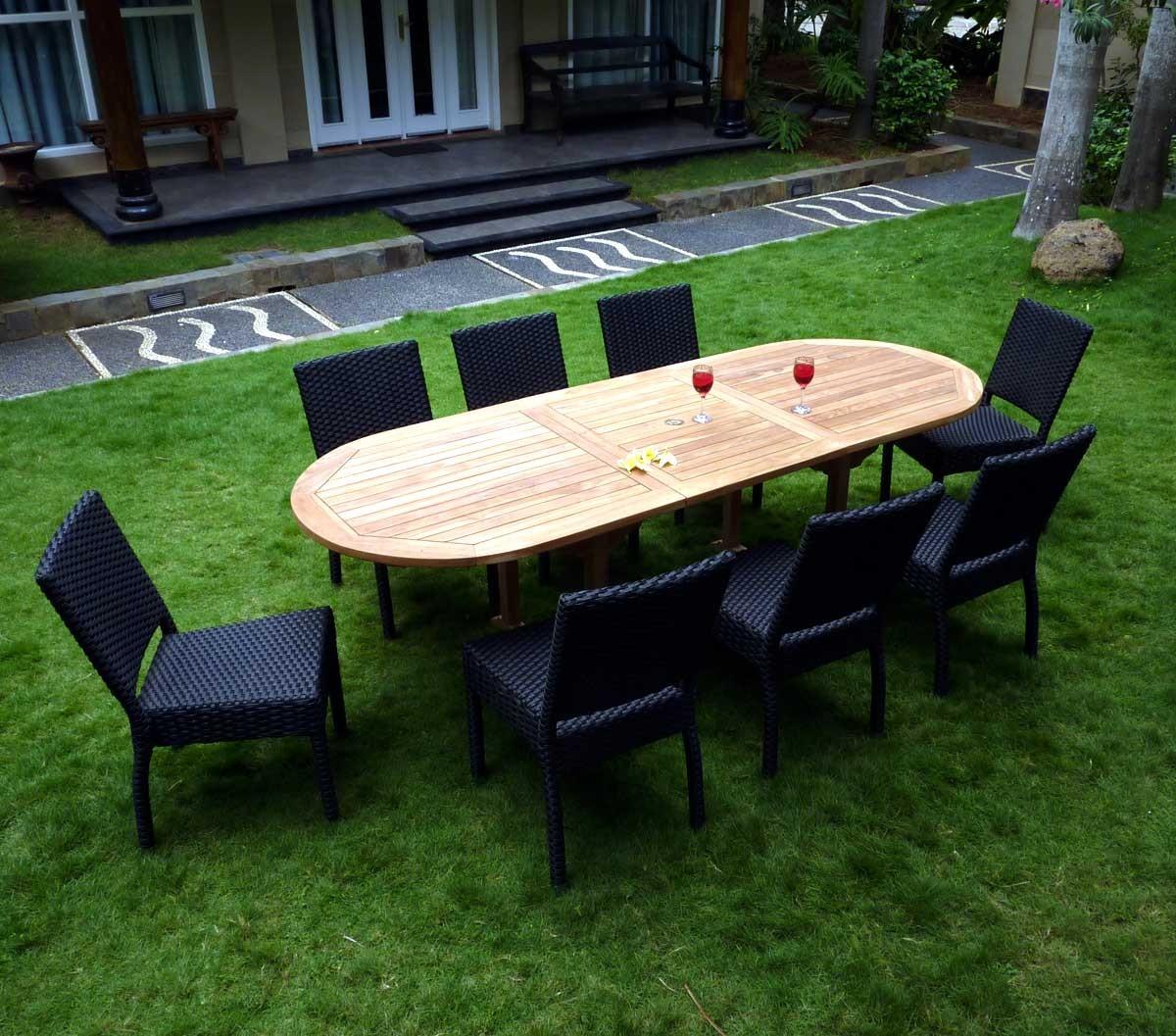 Détails sur salon de jardin en teck et résine 8 chaises avec coussins -  table ovale 180-240