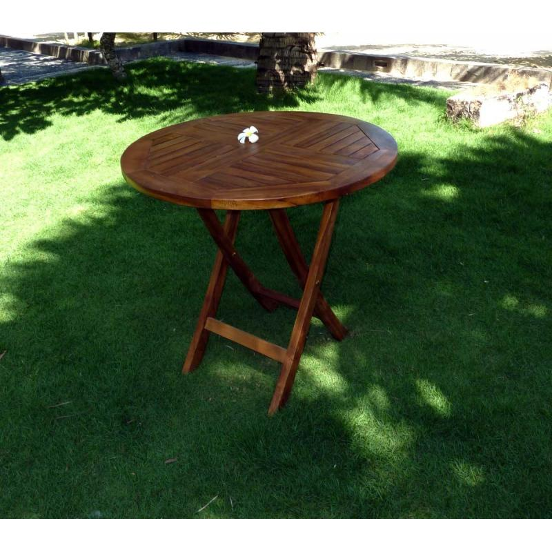 Table de jardin pliante en teck huilé - diametre 70 cm - wood-en-stock