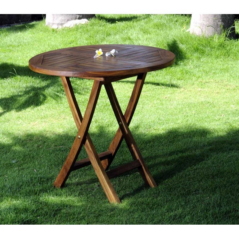 table de jardin pliante en teck huil diametre 70 cm. Black Bedroom Furniture Sets. Home Design Ideas