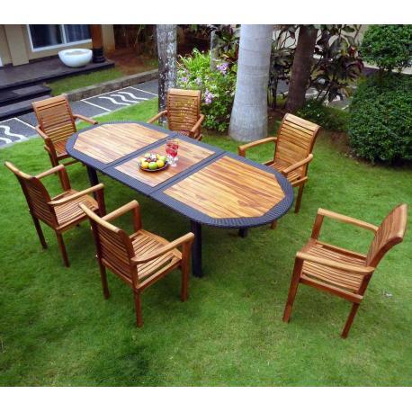 meubles en teck et résine tressée : salon de jardin 6 places