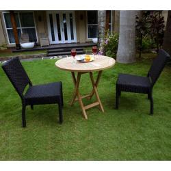 Mobilier de jardin en teck brut : Modèle SUNRISE - 2 chaises résine