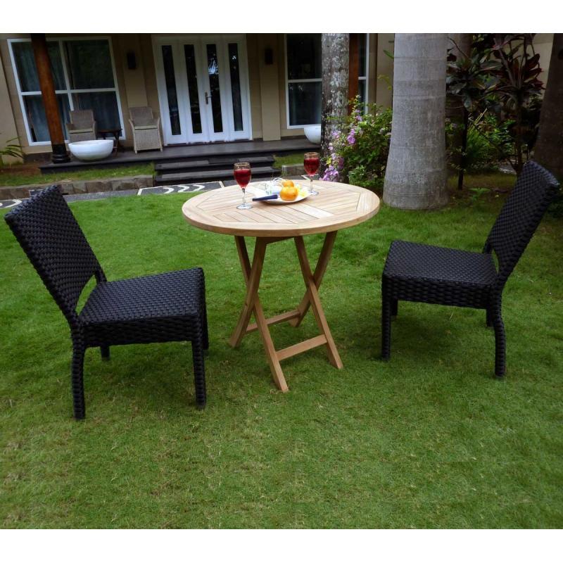 ensemble en résine et teck, table ronde et 2 chaises en résine noire ...