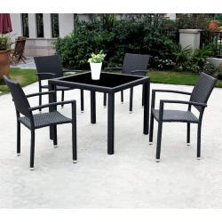 Salon de jardin en résine tressée x4 fauteuils