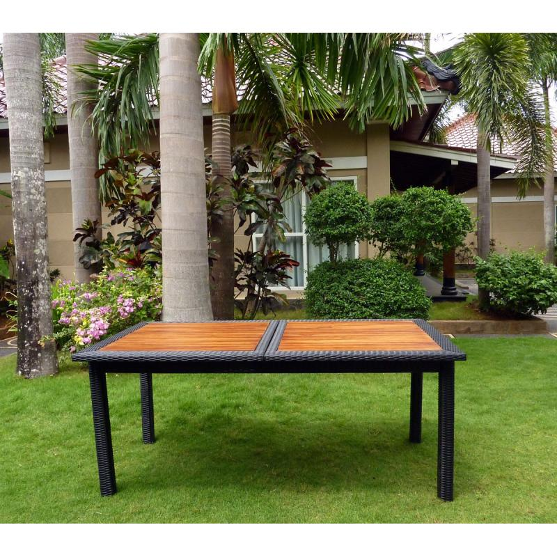 Table de jardin en teck et rotin synthetique