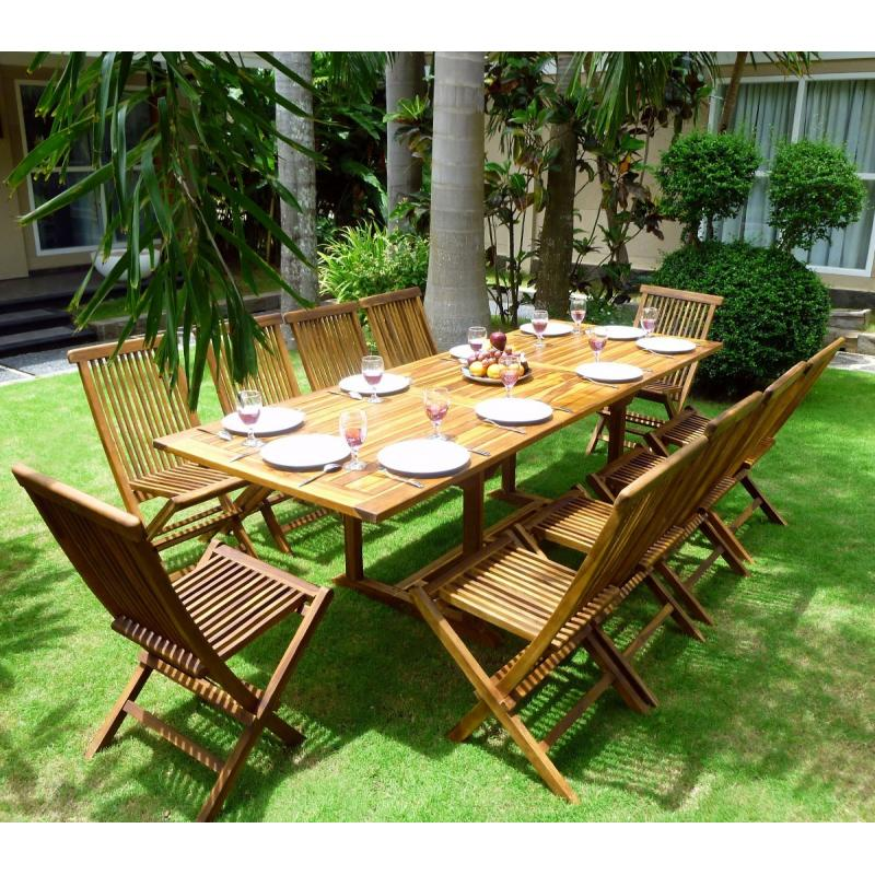 ensemble de jardin en teck huil flores 10 chaises en teck. Black Bedroom Furniture Sets. Home Design Ideas
