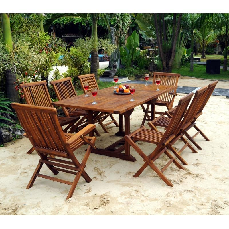 Salon Lombok teck huilé pour 8 personnes avec table 120-180 cm ...