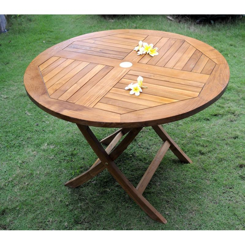 Table de jardin pliante en teck huilé - diametre 100 cm - wood-en-stock