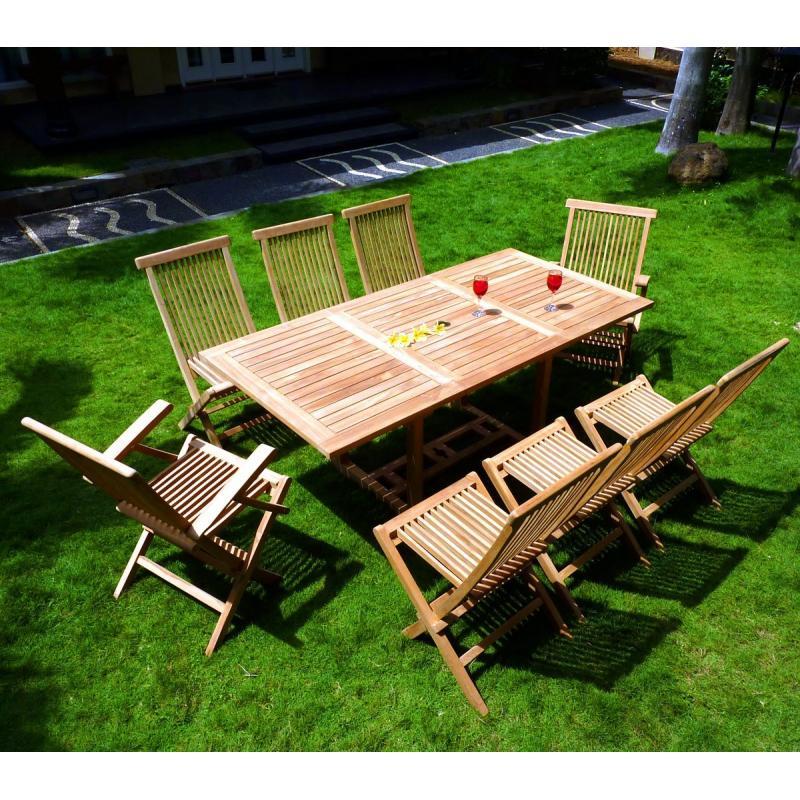 Ensemble Lombok 8 places teck brut de jardin, table extensible, pas cher