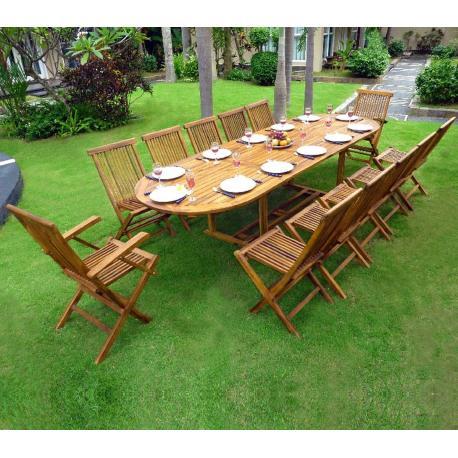 Salon de jardin en Teck SUMATRA huilé avec table double rallonge ...