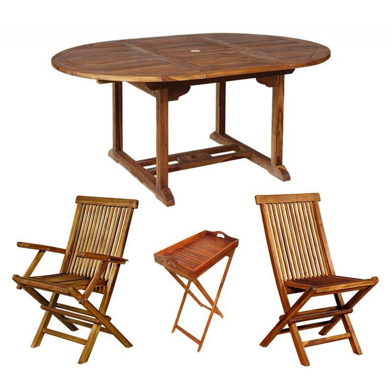 mobilier de jardin salon en teck massif 8 places + plateau en teck