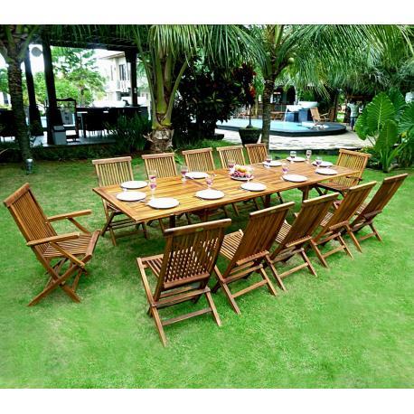 ensemble de jardin en teck huilé mobilier de jardin table 3 metres