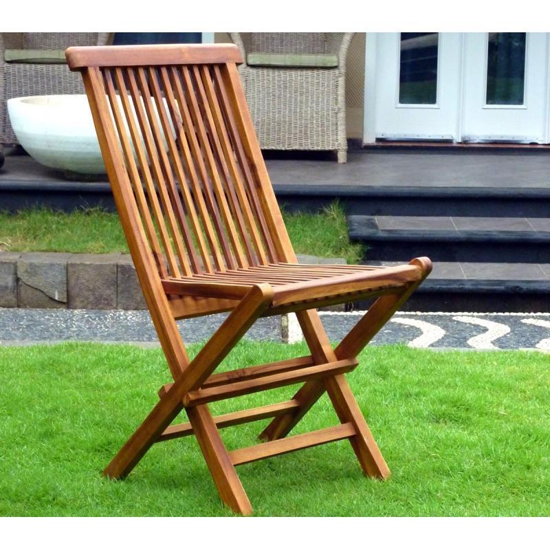 Chaises pliante en teck huilé : meuble de jardin