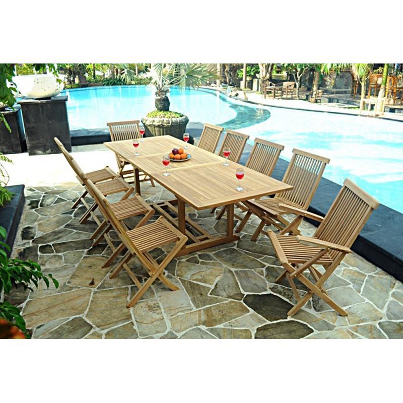 mobilier en teck naturel salon de jardin en teck 10 personnes table rectangulaire. Black Bedroom Furniture Sets. Home Design Ideas