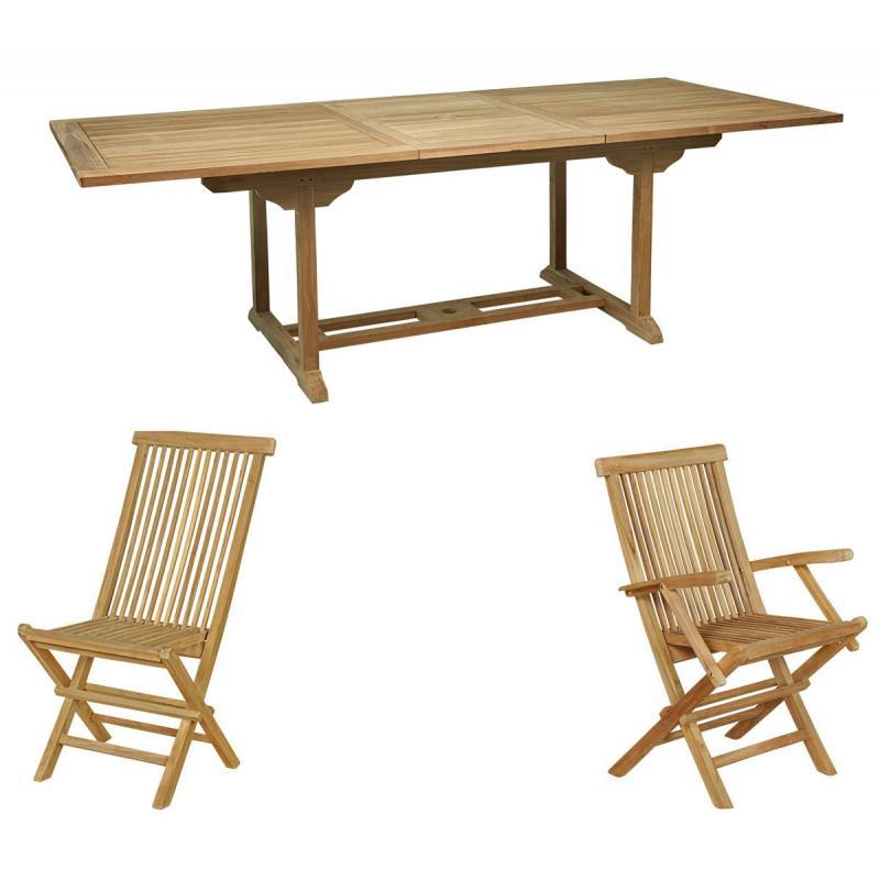mobilier en teck naturel: salon de jardin en teck 10 personnes ...