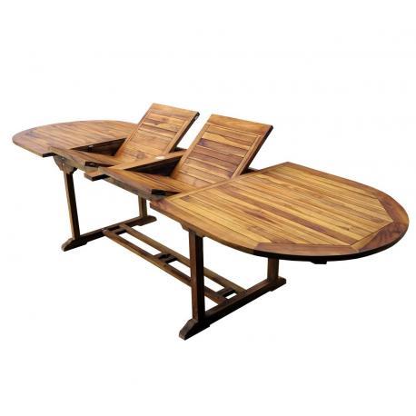 table de jardin en teck à double rallonge papillon