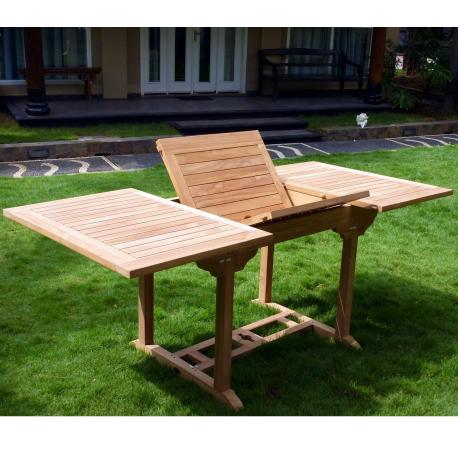 Table de jardin en teck 8 places rallonge papillon