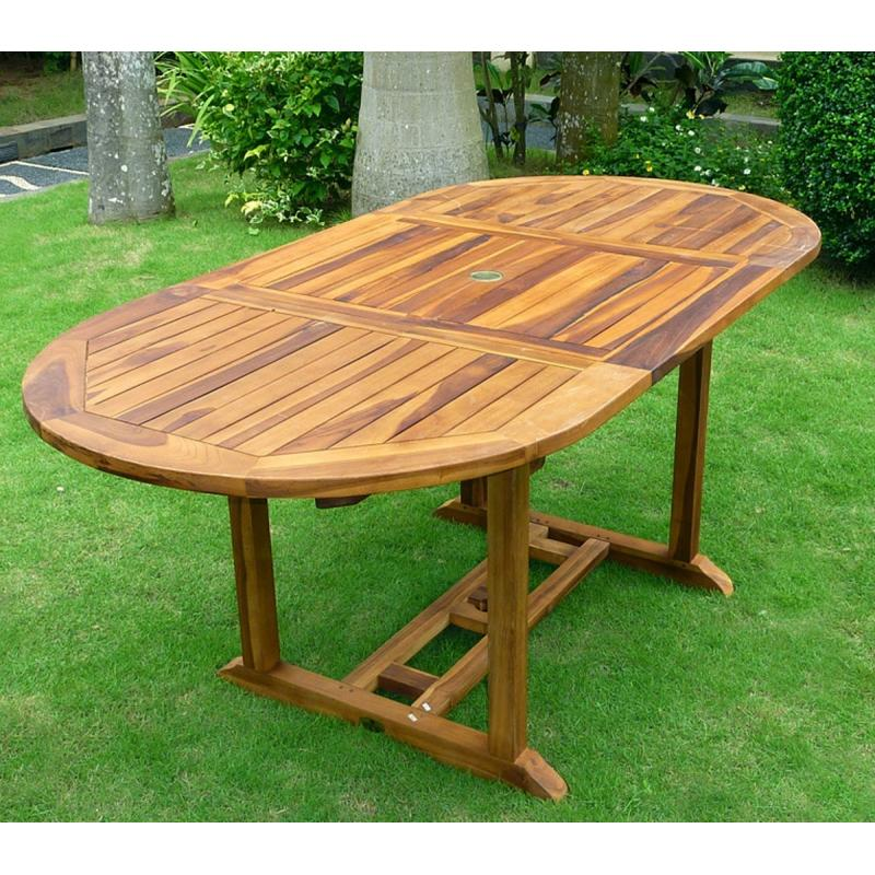 table en teck de jardin 8 places finition huil e. Black Bedroom Furniture Sets. Home Design Ideas