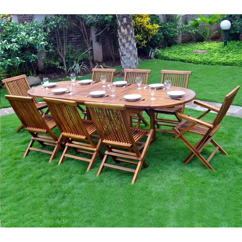salon de jardin en teck huil java 8 10 places - Table De Jardin Teck