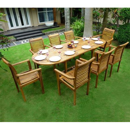 Ensemble en teck de jardin 8 fauteuils de jardin en teck : Raja