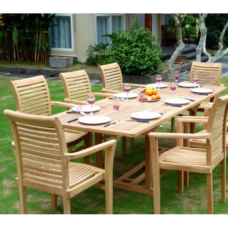 Mobilier en teck de jardin table flores en teck brut avec Mobilier de jardin en teck massif