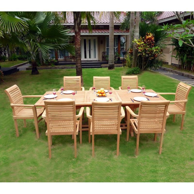 mobilier en teck de jardin, table flores en teck brut avec 8 ...
