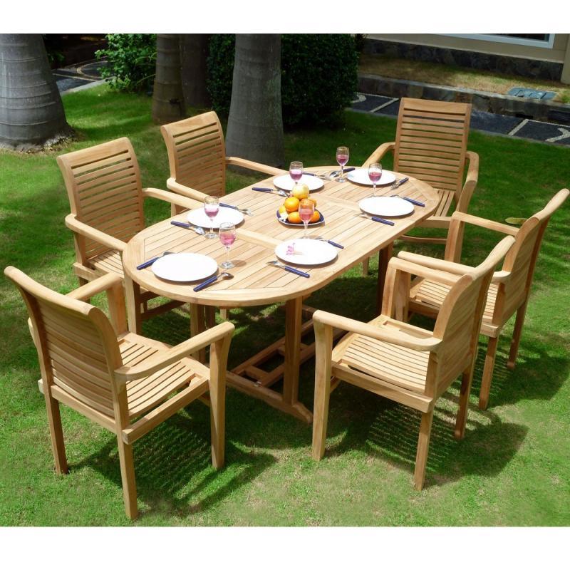 Ensemble de jardin en teck brut 6 places fauteuils empilables en ...