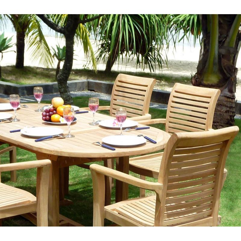 Ensemble de jardin en teck brut 6 places fauteuils ...