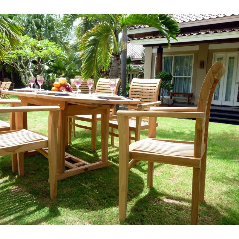 ensemble de jardin en teck brut 6 places fauteuils empilables en teck raja salon pas cher. Black Bedroom Furniture Sets. Home Design Ideas